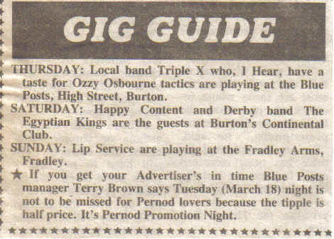 Advertiser 22nd March 1986 Gig Guide